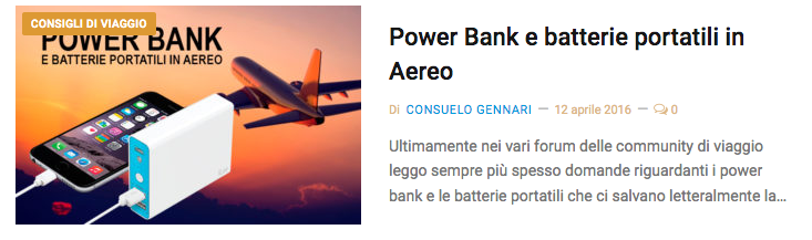 Power bank in aereo