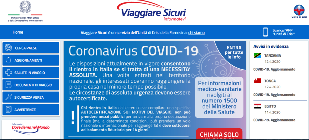 informazioni coronavirus viaggi